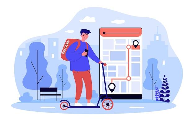オンラインアプリで配達するスクーター注文の配達員。宅配便業者が顧客に食べ物を運び、スマートフォンのwebgpsアプリケーションで道を追跡します。フラット漫画ベクトルイラスト。