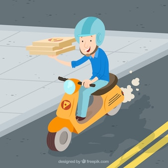 Deliveryman on scooter with pizza boxes