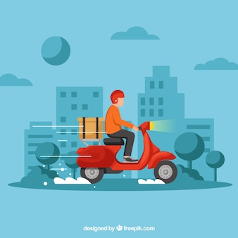 Deliveryman with scooter in the city
