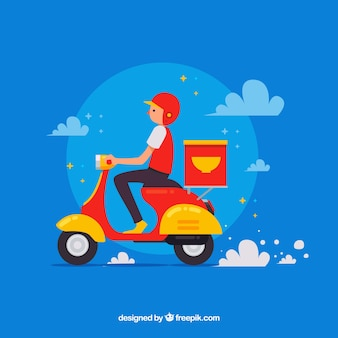 Deliveryman with scooter and fun style