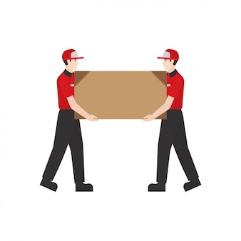 Deliverymen with a parcel