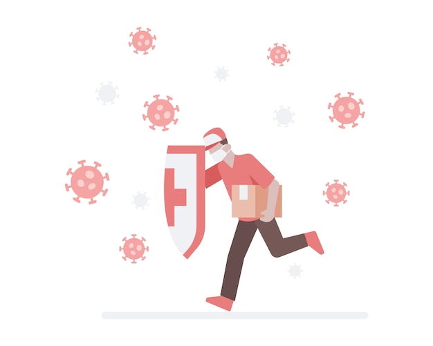 A dellivery man wear a face mask and holding a shield and run crashing a coronavirus to deliver a package box to customer illustration