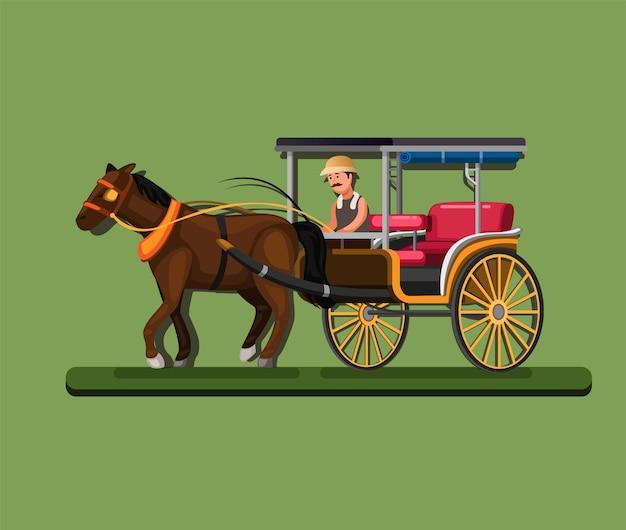 Дельман, также известный как конная повозка, индонезийская традиционная транспортная концепция в карикатурной иллюстрации