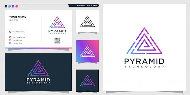 라인 아트 피라미드 스타일 및 명함 디자인 템플릿이있는 델타 기술 로고