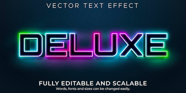 Deluce neon editable text effect, shiny and neon text style