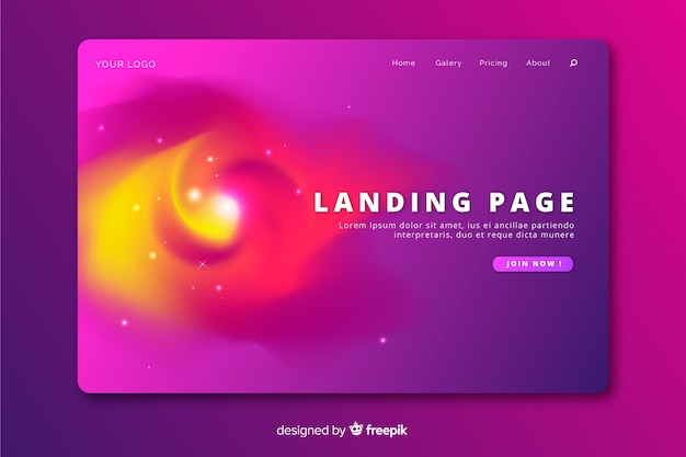 Delusion landing page with gradient