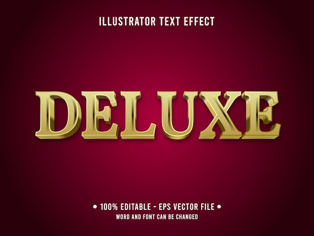 Deluxe editable text effect 3d metallic style with gold color