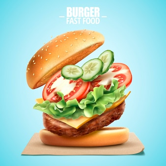 Deluxe king size burger with tasty toppings in 3d illustration, fast food design element on blue