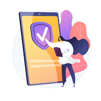 On demand insurance service. digital insurer, mobile app, innovative business model. female customer ordering insurance policy online. vector isolated concept metaphor illustration