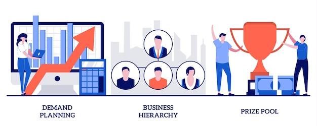 Demand planning, business hierarchy, prize pool concept. business development and improvement set.