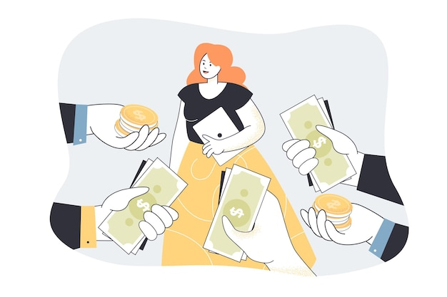 Demanded talented specialist receiving cash and offers. flat illustration