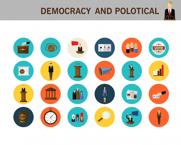 Democracy and political concept flat icons.