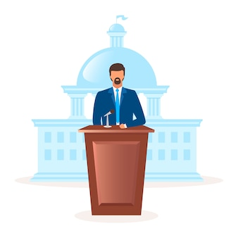 Democracy political system metaphor flat illustration. form of government. president, head of state. parliament leadership. representative of republic state cartoon characters