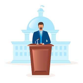 Иллюстрация метафоры политической системы демократии плоская. форма правления. президент, глава государства. руководство парламента. представитель республиканских государственных героев мультфильмов