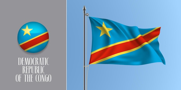 Democratic republic congo waving flag on flagpole and round icon vector illustration. realistic 3d mockup with design of flag and circle button