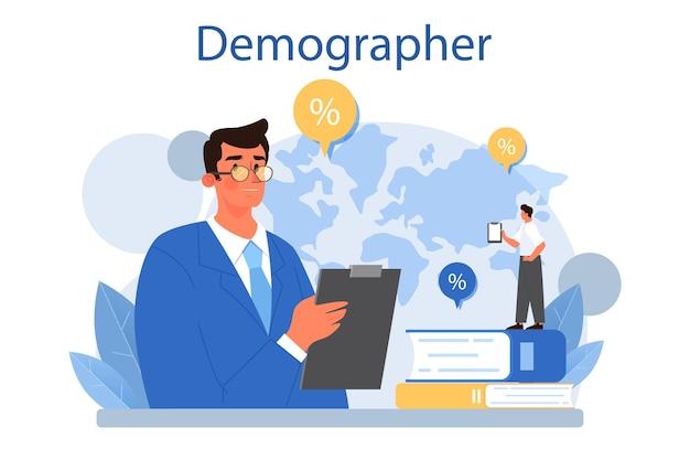 Demographer concept. scientist studying population growth, analyze data