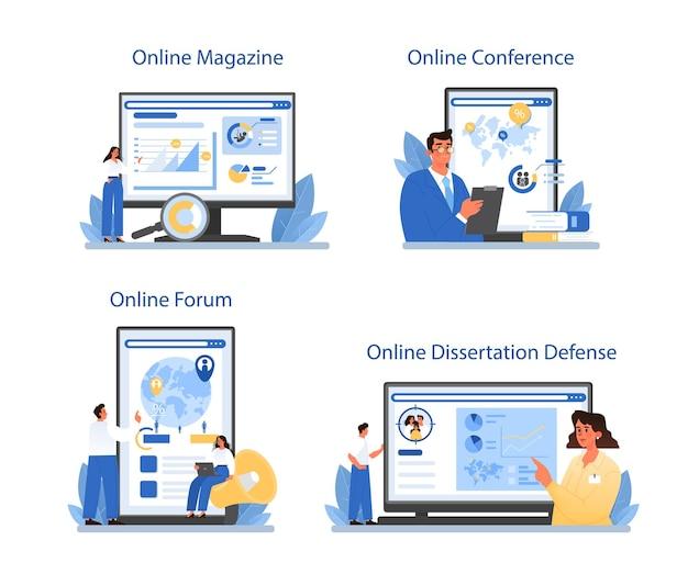 Demographer online service or platform set. flat vector illustration