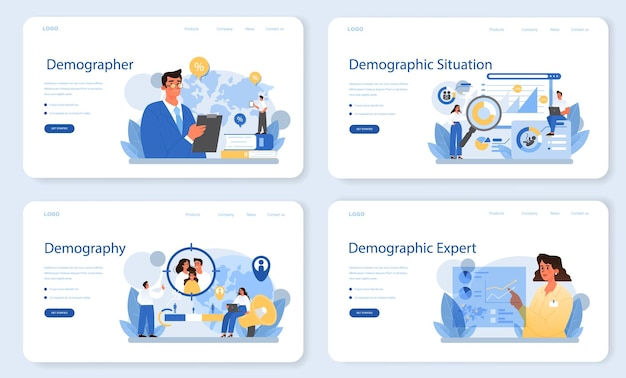 Demographer web banner or landing page set. scientist studying population growth, analyze data and demographic statistics, in an area over a period of time. isolated vector illustration