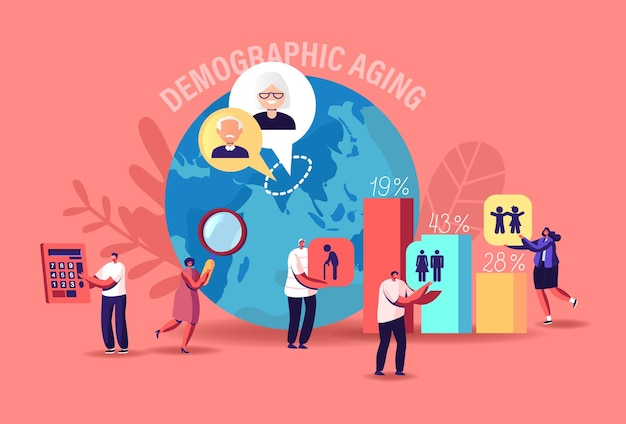 Demographic aging concept. statistics data for young, adult and old human ages in world and countries. tiny characters at huge column charts and earth globe. cartoon people vector illustration