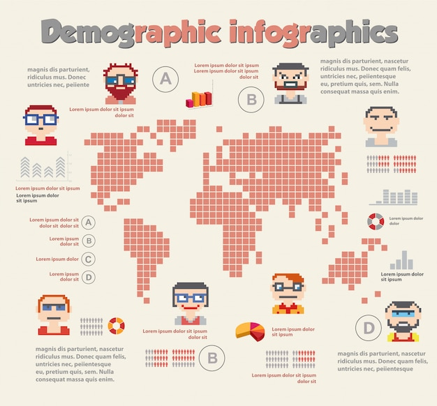 Demographic infographic with people