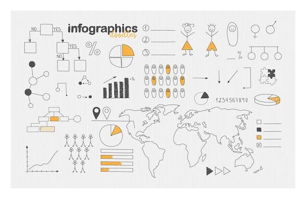 Demographic infographics and social statistics doodle set