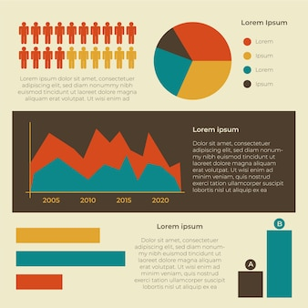 Demography infographic with retro colours