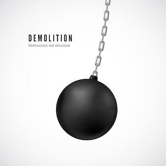 Demolition ball on chain in motion. heavy black wrecking ball for buildings destruction.