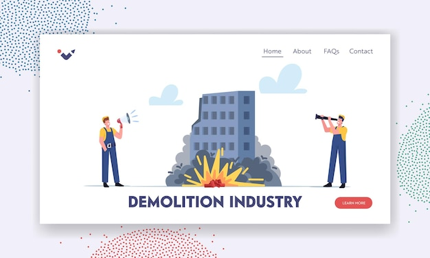 철거 산업 방문 페이지 템플릿입니다. 확성기와 망원경을 가진 노동자 남성 캐릭터가 통제된 tnt 건물 폭발을 보고 있습니다. 노동자는 집을 제거합니다. 만화 사람들 벡터 일러스트 레이 션