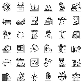 Demolition work icons set, outline style