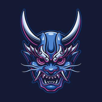 Иллюстрация шаблона логотипа головы демона дьявола. логотип киберспорта