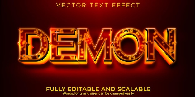 Demon devil text effect, editable red and horror text style