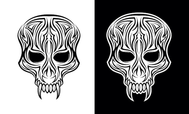 Demon face tribal tattoo design vector