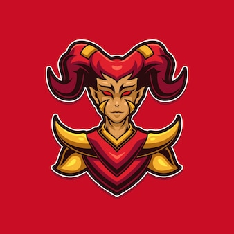 Шаблон логотипа игрового талисмана demon girl e-sports