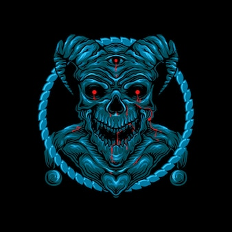 悪魔の角の頭蓋骨の頭の図