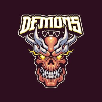 悪魔のマスコットのロゴのテンプレート