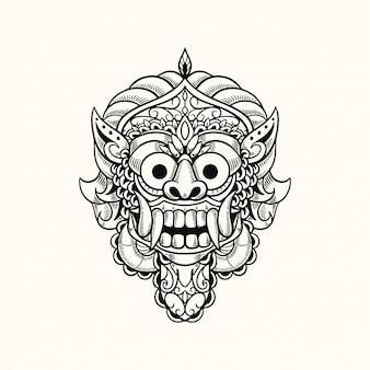 悪魔マスクバリインドネシアtシャツデザインイラスト