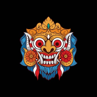 Demon mask bali indonesia tshirt design illustration