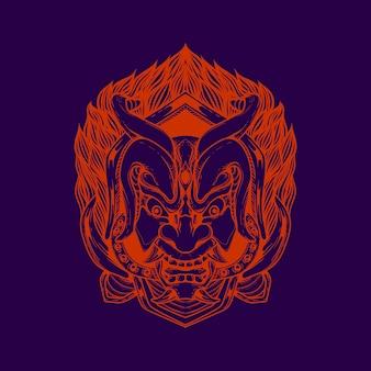 Demon mask illustration