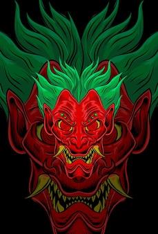 Demon mask with joker hair vector illustration