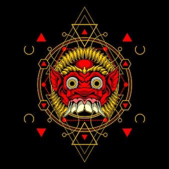 Demon mask with sacred geometry
