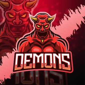 悪魔のスポーツマスコットのロゴのデザイン