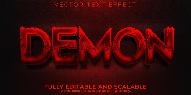Demon text effect, editable halloween and hell text style
