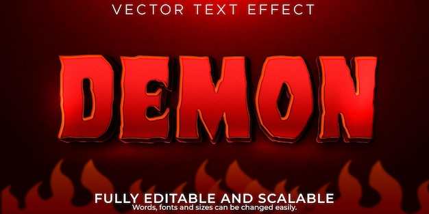 Текстовый эффект демона редактируемый стиль текста ужаса и крови