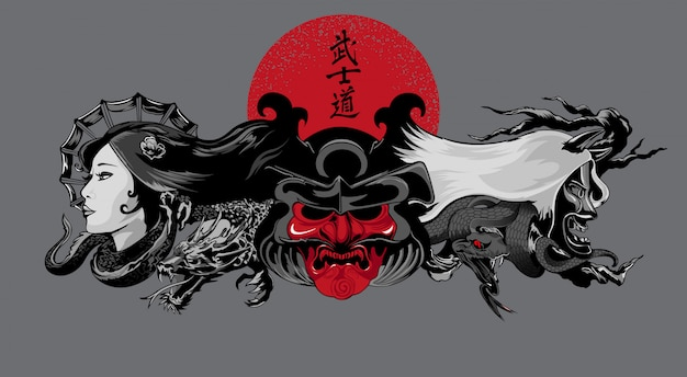 Demons illustration on japanese style