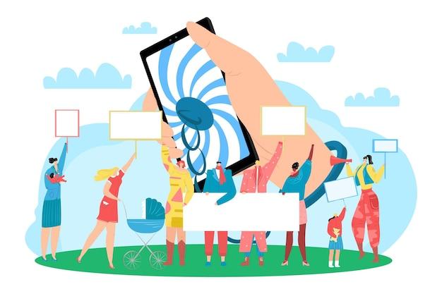 Демонстрационный характер людей вместе держит пустой текстовый баннер, цифровая наркомания проблема психического здоровья плоская векторная иллюстрация, изолированная на белом.