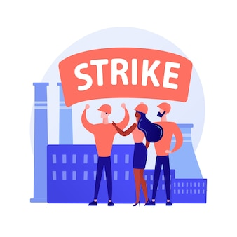 Demonstration. people partaking in a protest with transparent, protest slogans and loudspeaker against industrial pollution. rally, riot, strike. vector isolated concept metaphor illustration