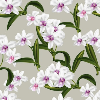 Dendrobium orchid seamless pattern
