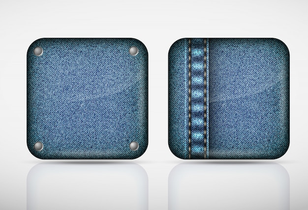 Denim application icons. texture jeans