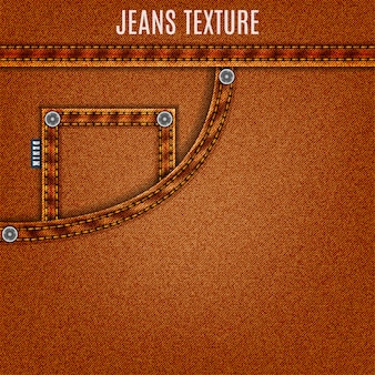 Denim background of jeans brown texture with pocket