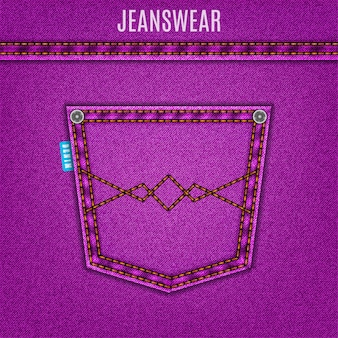 Denim background of purple jeans texture with pocket